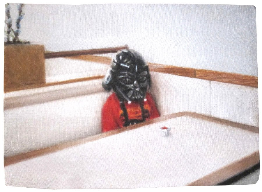 Boy in Darth Vader Mask with Portion of Ketchup